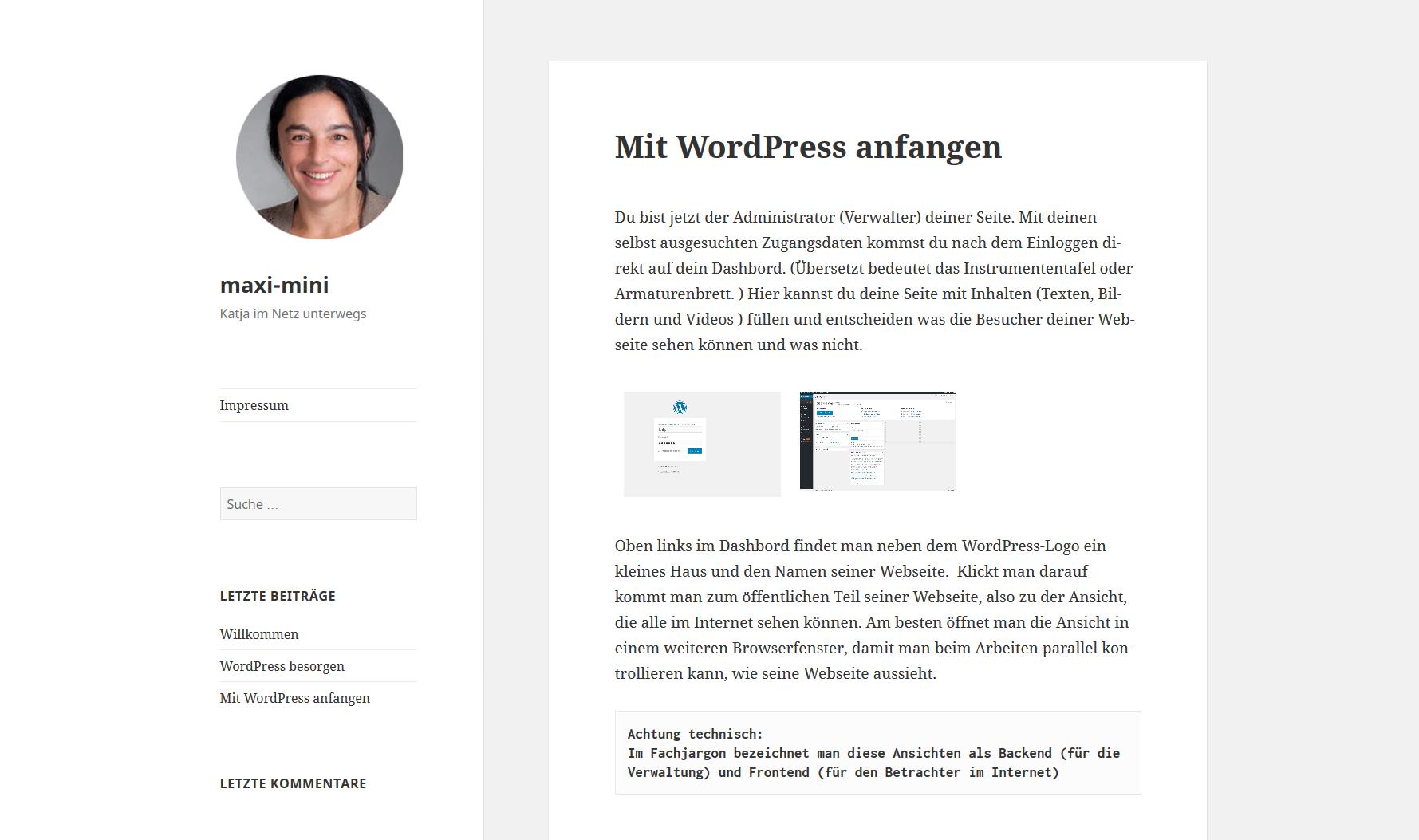 WordPress-Einführung: Offentliche Ansicht am Beispiel meiner Webseite