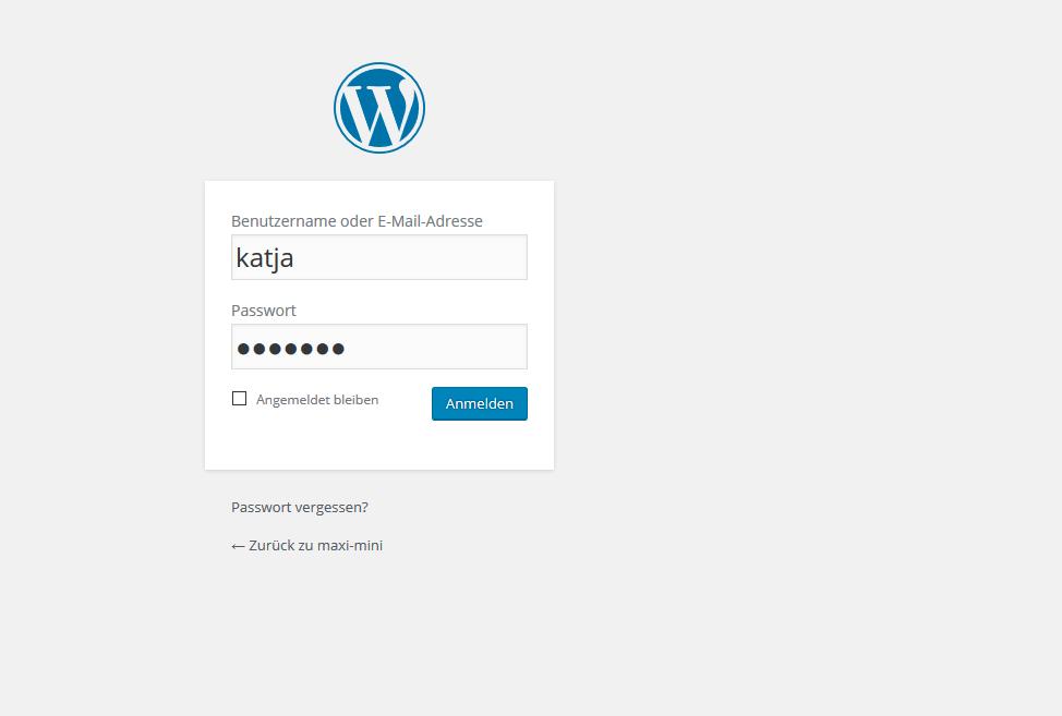 Melde dich mit deinem Administratornamen und deinem Passwort bei deinem WordPress-Projekt an