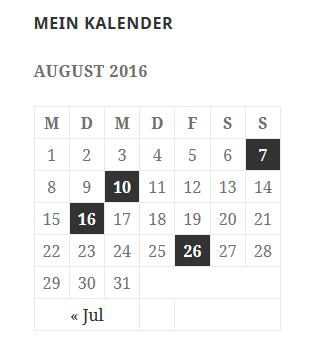 Widget Kalender auf der Webseite