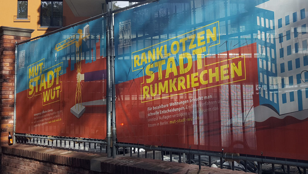 Transparent an der Baustelle in der Lehrterstraße im Oktober 2019