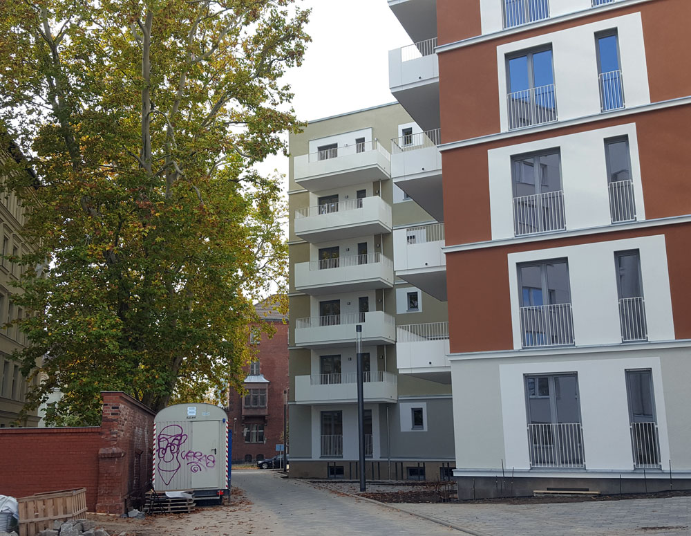 Eine neue Straße im neuen Wohnquartier im Oktober 2019