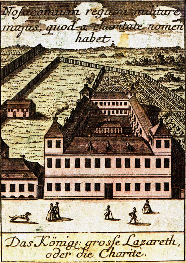 Die Berliner Charite um 1740, Radierung von Matthias Seutter