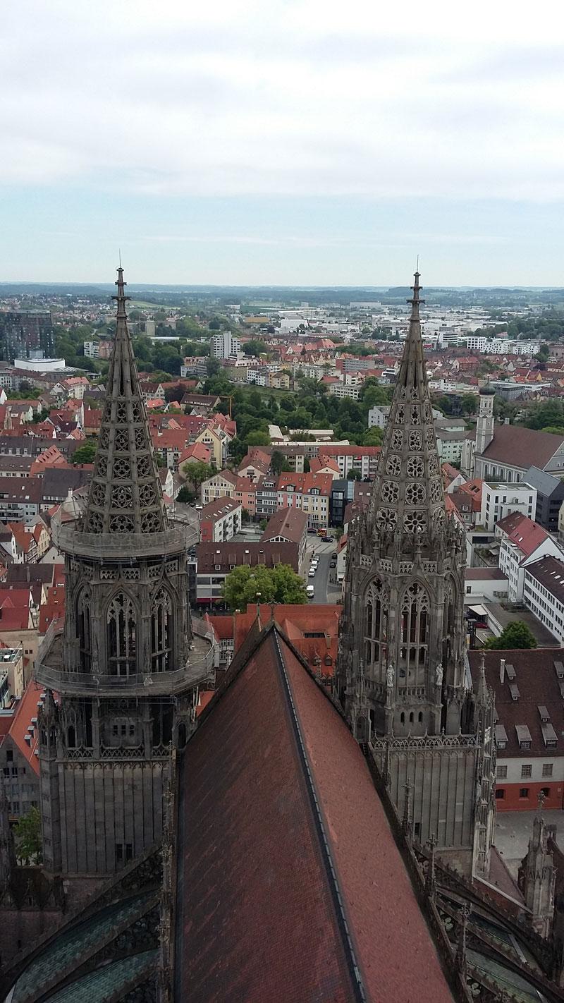 Die Aussicht vom Ulmer Münster vom ersten Plateau