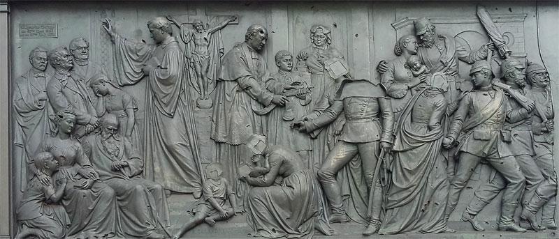 Berliner Siegessäule . Ausschnitt eines Sockelreliefs