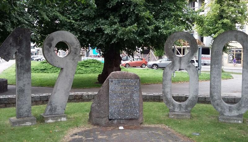 Denkmal 1980 am Stadthafen in Swinemünde