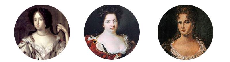Die Frauen des ersten preußischen Königs (von links nach rechts): Elisabeth Henriette , Sophie Charlotte, Sophie Dorothea