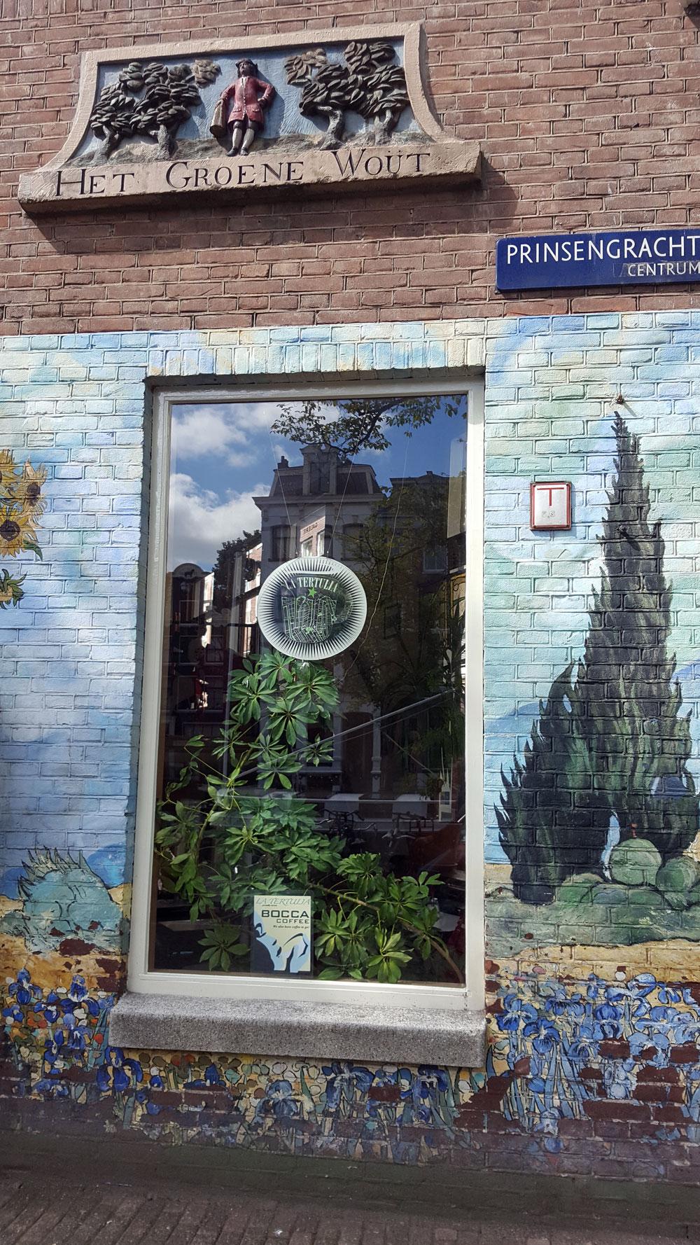 """Coffeeshop """"het groene wout"""" in der Prinsengracht in Amsterdam"""