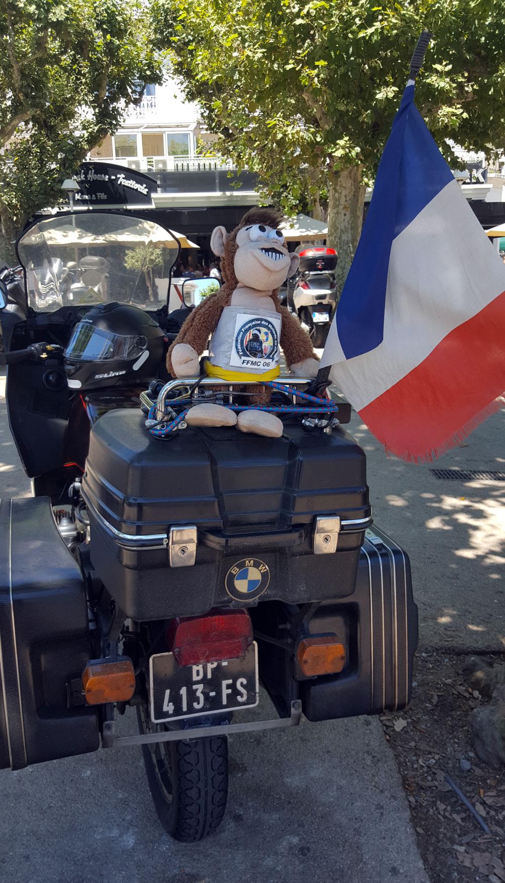 Stoffaffe auf einem BMW-Motortad mit französischer Fahne und FFMX Logo ( Fédération française des motards en colère)