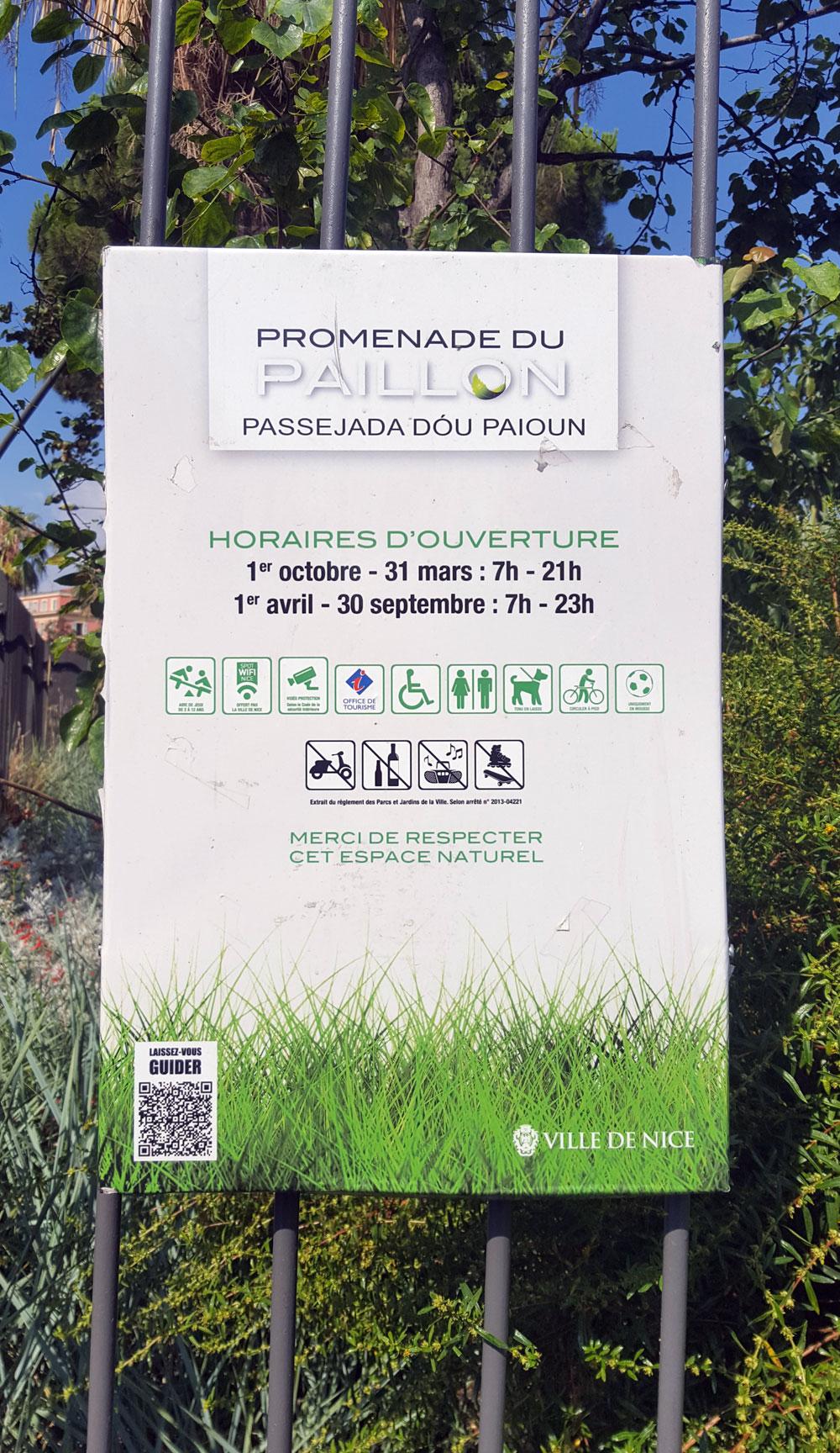"""Engangsschild Parkanlage """"Promenade du Paillon"""""""