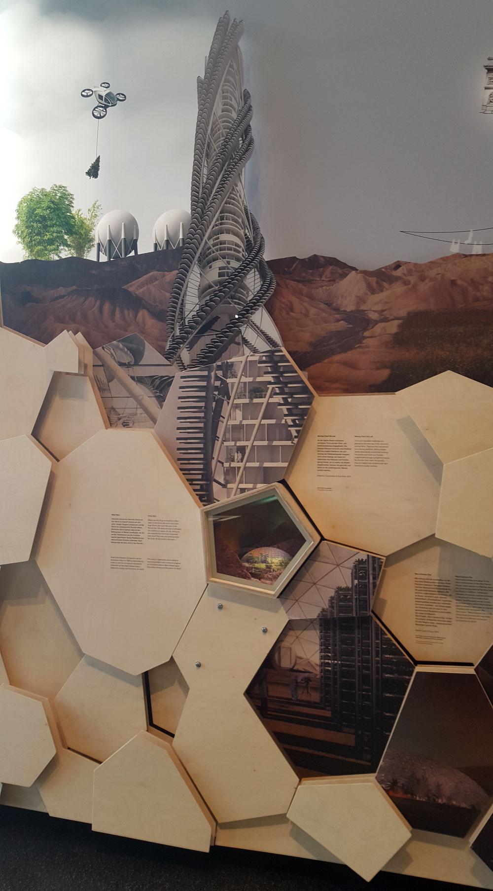 """Installaton zum Thema """"Städte in der Zukunft"""" im Futurium"""