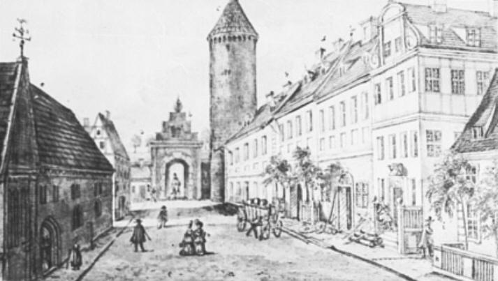 Das Spandauer Tor mit Pulverturm Anfang des 18. Jahrhunderts - Zeichnung des Berliner Malers Leopold Ludwig Müller