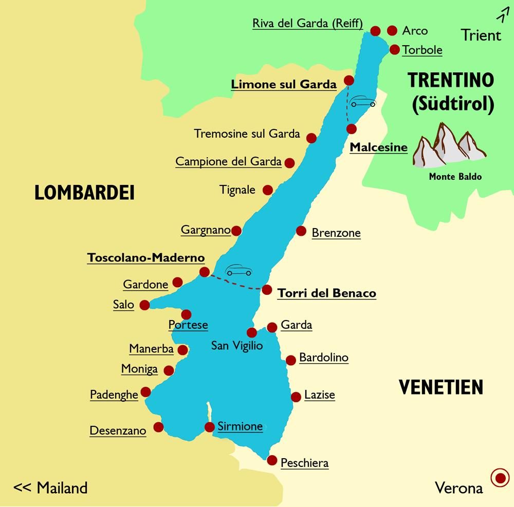 Karte von Gardasee mit den wichtigsten Orten