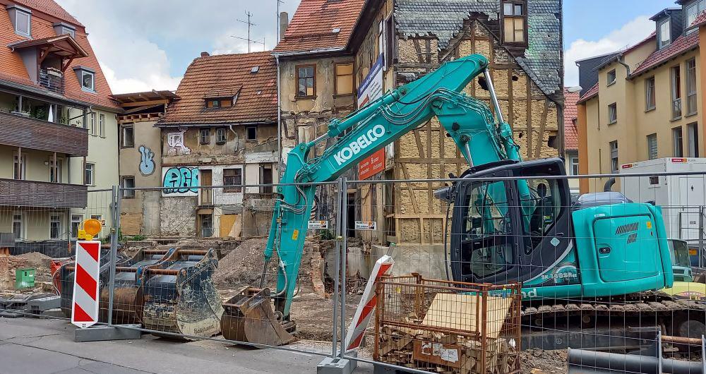 Baustelle in der Erfurter Altstadt
