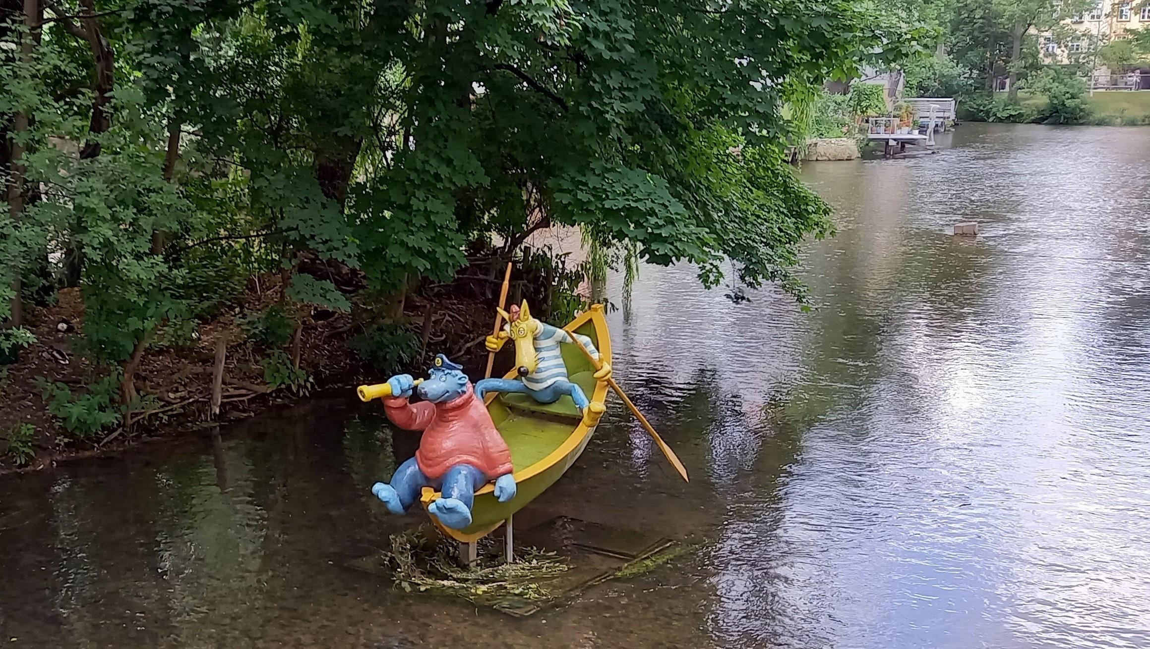Käpt'n Blaubär und Hein Blöd nahe der Schlösserbrücke in Erfurt