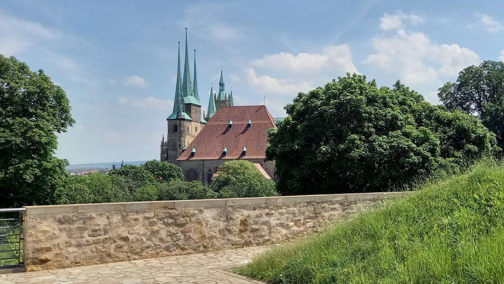 Aussicht auf den Erfurter Dom von der Zitadelle Petersberg