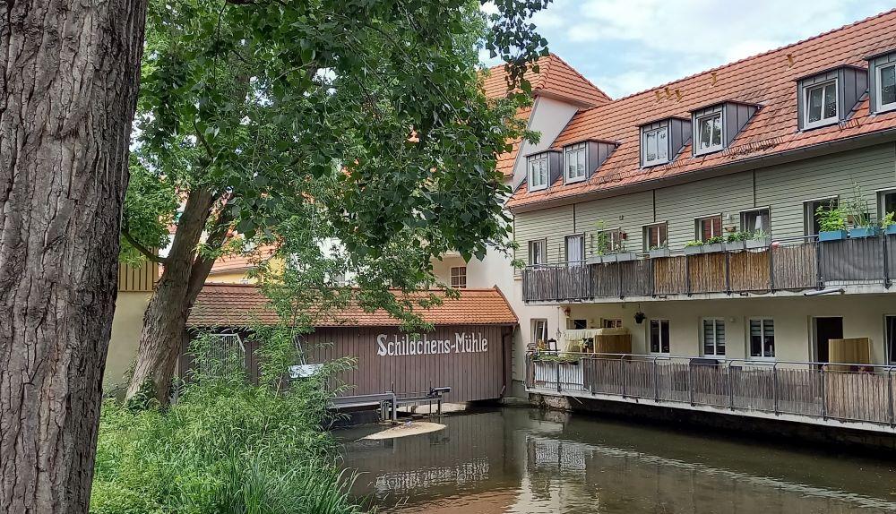 Die Schildchensmühle in der Schildgasse hinter der Krämerbrücke in Erfurt