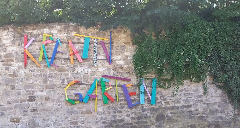 Mauer des Kreativgartens auf  dem BUGA-Standort Petersberg