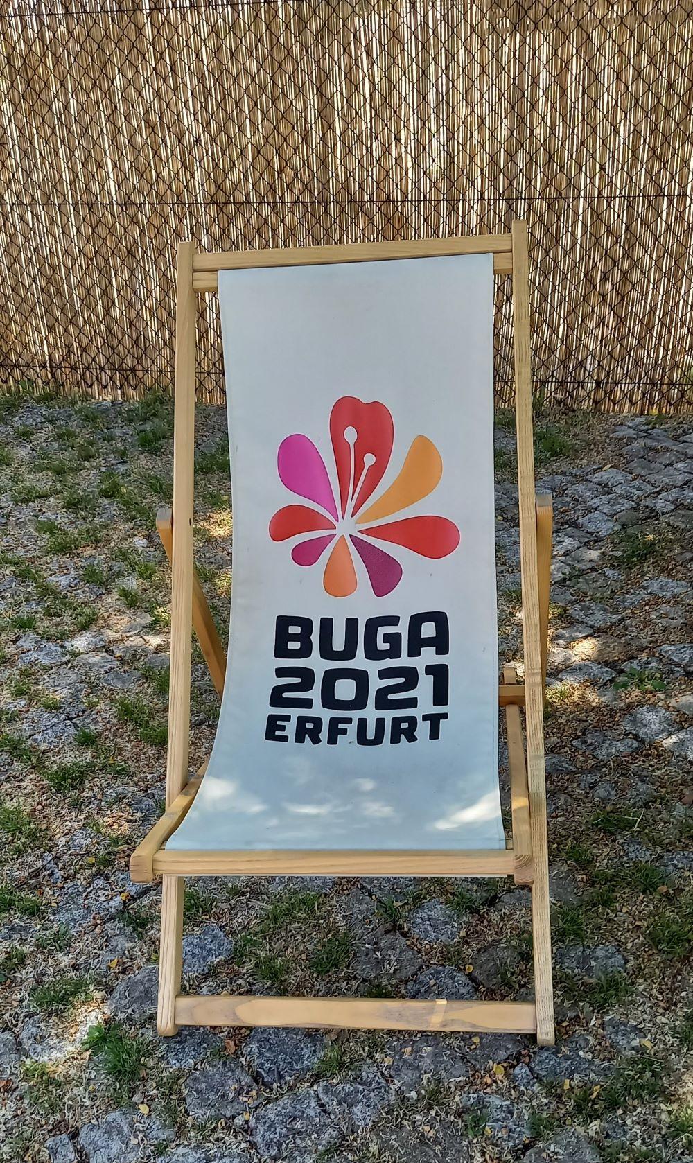 Liegestuhl mit BUGA 2021 Erfurt auf dem Petersberg