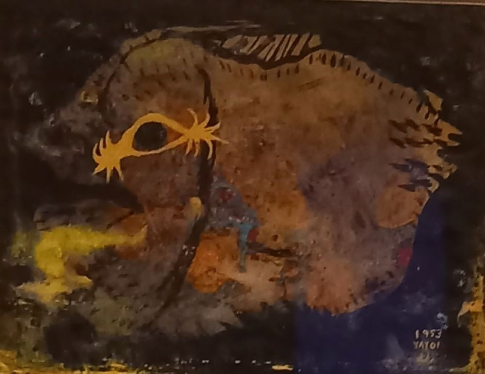 The fish - Tinte und Pastell auf Papier von Yayoi Kusama 1953